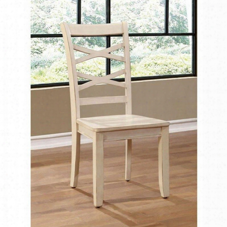 Giselle Collection Cm3528wh-sc-2pk Set Of 2 Transitional Style Side Chair With Cross Back And Wooden Contour Seat In