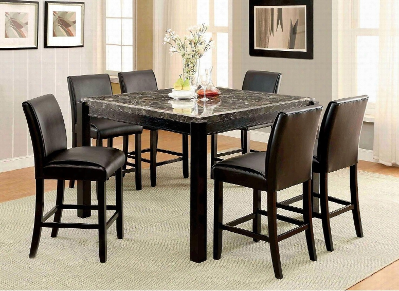 """Gladstone Ii Collection Cm3823bk-pt 54"""" Square Counter Height Table With Contemporary Style Gnuine Marble Table Top  And Black"""
