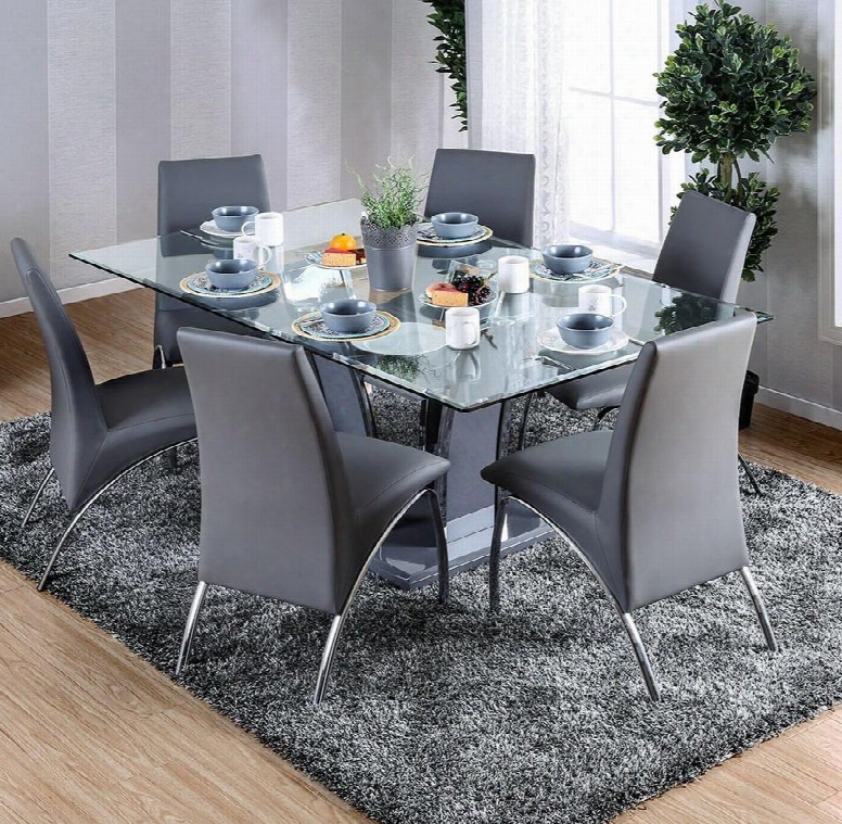 """Glenview I Collection Cm837g2y-t-table 72"""" Glass Dining Table With 12mm Tempered Glass Top Pedestal Base And High Gloss Lacquer Coating In"""