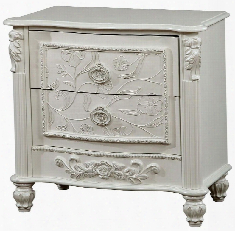 """Henrietta Collection Cm7192n 27"""" Nightstand With 2 Drawers Fairy Tale Style Carved Turned Feet Solid Wood And Wood Veneers Construction In White"""
