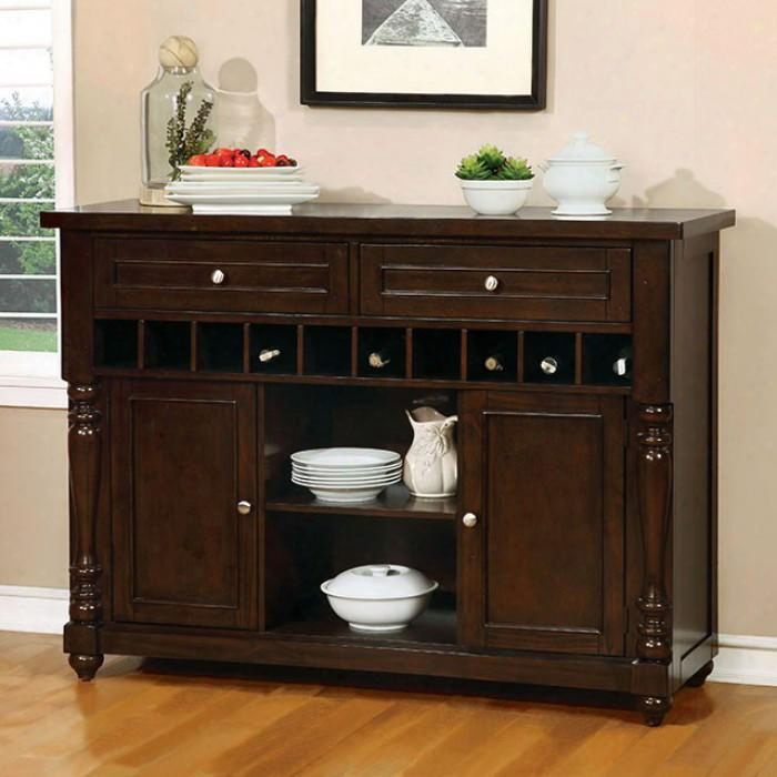 "Hurdsfield Collection Cm3133sv 54"" Server With Turned Legs Wine Rac K2 Drawers And 2 Doors In Antique"