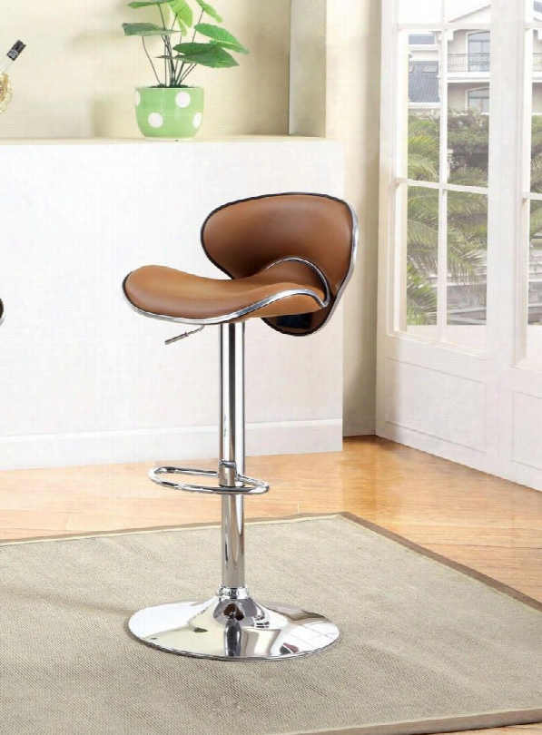 """Kossi Cm-br6907cl 26"""" - 31"""" Contemporary Style Swivel Bar Stool With Sleek Low-profile Seat Adjustable Height Padded Leatherette Cushion And Chrome Base In"""