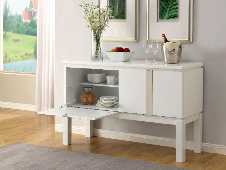"""Laamia I Collection Cm4176wh-sv 52"""" Server With Solid Wood Construction High Gloss Lacquer Coating And 2 Flip-down Doors In"""
