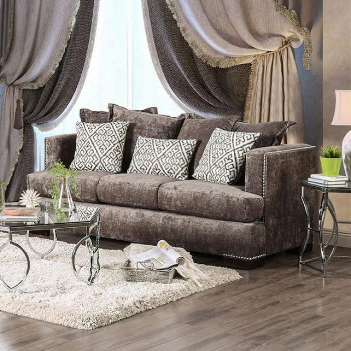 "Maisie Accumulation Sm6401-sf 83"" Sofa With Chenille Fabric Nailhead Trim And T-cushion Seating In"