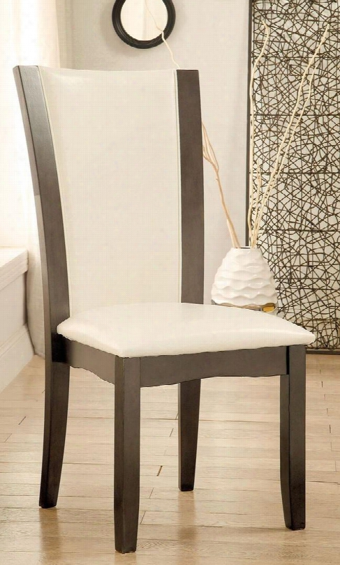 Manhattan I Collection Cm3710gy-sc-2pk Set Of 2 Side Chair With Padded Ivory Leatherette In Gray