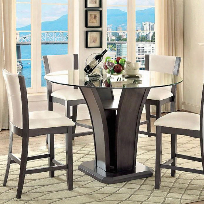 "Manhattan Iii Collection Cm3710gy-pt-table 48"" Round Counter Height Table With 10mm Glass Top And Curved Food Base In"