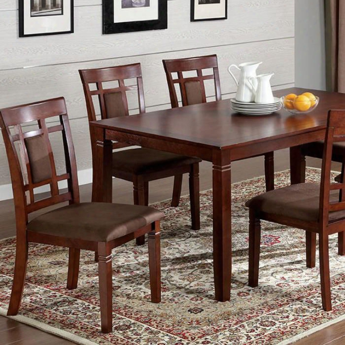 Montclair I Cm3930t-7pk 7 Pc. Dining Table Set With Transitional Style Padded Microfiber Seat Solid Wood Wood Veneer And Others Dark Cherry Finish In Dark