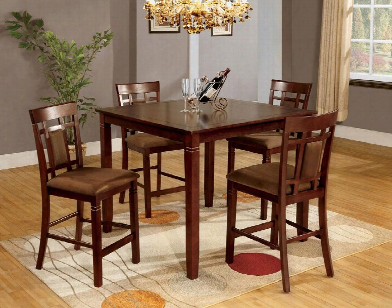 Montclair Ii Collection Cm3930pt-5pk 5 - Pieces Counter Height Table Set With 4 Straight Back Chairs Padded Fabric Seats And Square Table In Dark Cherry