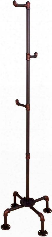 "Naja Collection Cm7914cr 68"" Coat Rack With 3 Hooks Industrial Style Design Pipe-inspired Frame Hand Brushed Details And Full Metal Construction In Sand"