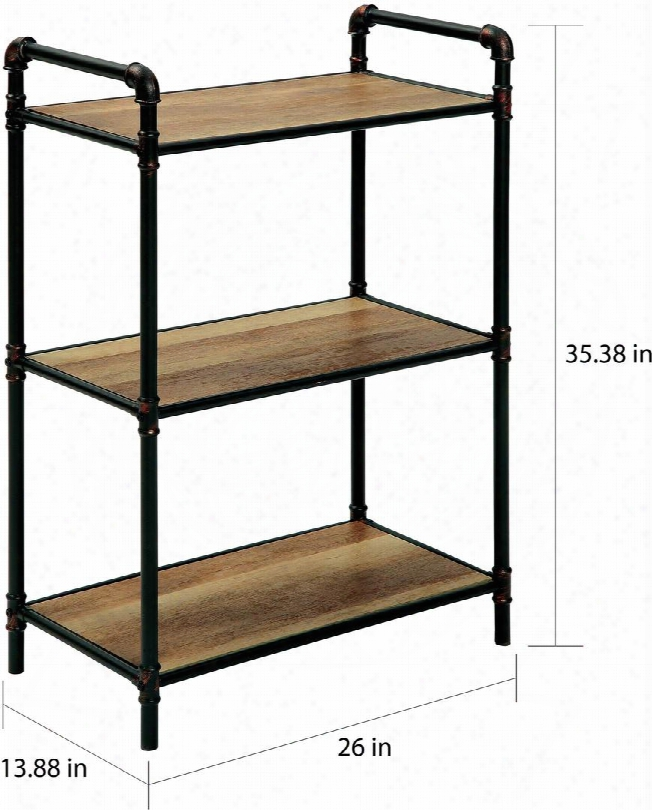 """Ola Collection Cm-ac913s 35"""" Display Shelf With 3 Shelves Industrial Style Design Pipe-inspired Metal Frame And Hand Brushed Details In Antique"""