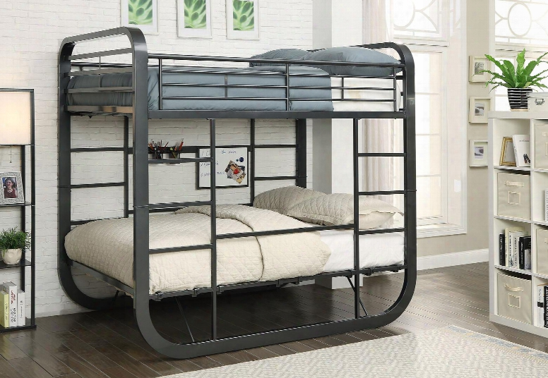Olivet Collection Cm-bk1050t-bed Twin/twin Size Bunk Bed With Attached Ladder Top Guard Rails U-shaped Design Bottom Workstation And Powder Coated Frame In