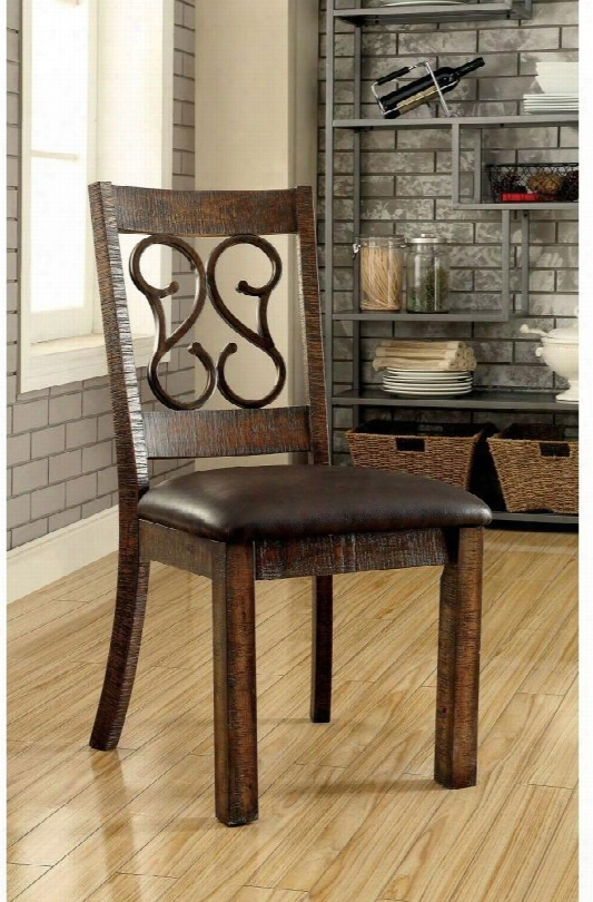 Paulina Collection Cm3465sc-2pk Set Of 2 Side Chair With Scroll Details Padded Leatherette Seat Cushions In Rustic Walnut