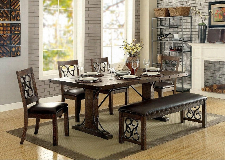 """Paulina Collection Cm3465t 78"""" Dining Table With Traditional Style Scroll Details Metal Support Beams And Bolt Accents In Rustic"""