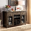 "Paulina Collection CM3465SV 56"" Server with Scroll Details Bolt Accents Hanging Glassware and Wine Rack in Rustic"