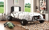 Power Racer Collection CM7285BK-BED Twin Size Bed with Race Car Design Leatherette Headboard Mattress Ready and Metal Construction in Black