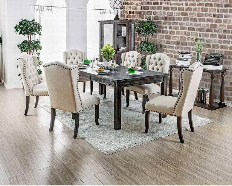 "Sania I Collection Cm3324bk-t-84 66"" - 84"" Extendable Dining Table With Bold Distressed Details 18"" Expandable Leaf And Legs In Antique"