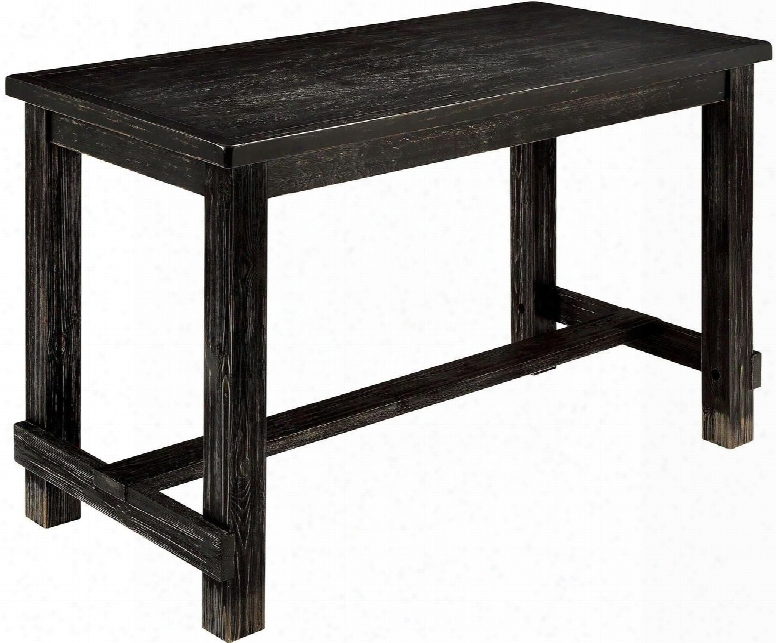 """Sania Ii Collection Cm3324bk-pt 60"""" Counter Height Table With Transitional Style Bold Distressed Details Cente Rbeam For Support And Double Beam As Footrest"""