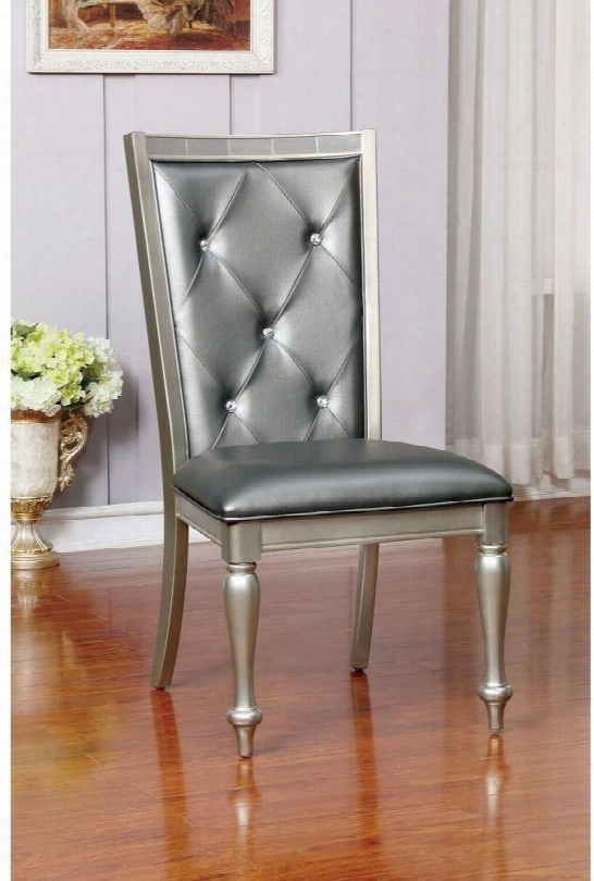Sarina Collection Cm3229sc-2pk Set Of 2 Contemporary Style Side Chair With Turned Legs Padded Leatherette Cushion And Button Tufted Back In Silver And