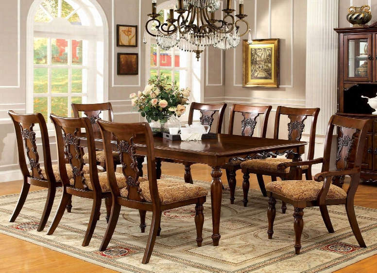 "Seymour Collection Cm3880t 60"" - 78"" Extendable Formal Dining Table With 18"" Expandable Lefa And Turned Legs In Dark"