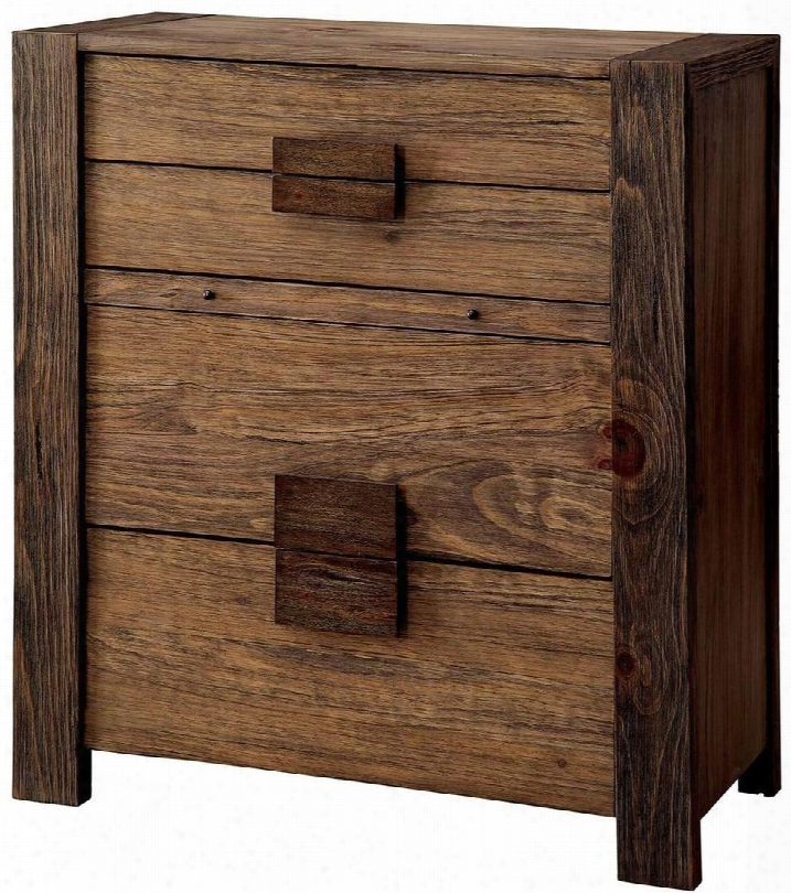 """Aveiro Collection Cm7628c 32"""" Chest With 4 Drawers Pull Out Tray Square Wooden Drawer Pulls Solid Wood And Wood Veneers Construction In Rustic Natural Tone"""