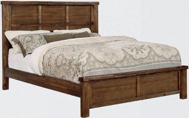 Baddock Collection Cm7691q-bed Queen Size Bed With Rustic Grain Design Tall Carved Panel Headboard An Dwood Veneers Construction In Antique Oak
