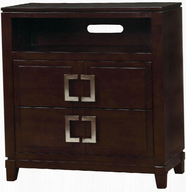 """Balfour Collection Cm7385tv 35"""" Media Chest With 2 Drawers Open Compartment Square Metal Drawer Pulls Solid Wood And Wood Veneers Construction In Brown"""