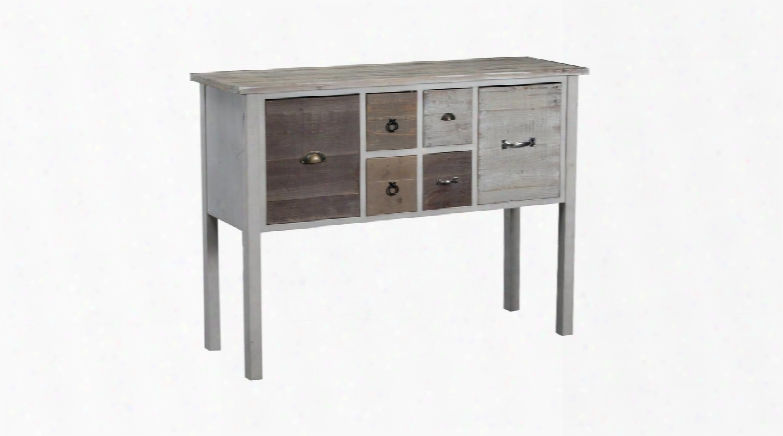 "Brighton Collection 15a8136c 47"" Console With Two Doors Four Drawers And Antique Brass Pulls In White And Driftwood"