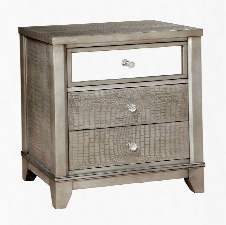 """Bryant Collection Cm7288sv-n 25"""" Nightstand With 3 Full Extension Drawers Crocodile Skin Leatherette Panels Mirror Accents Solid Wood And Wood Veneers"""