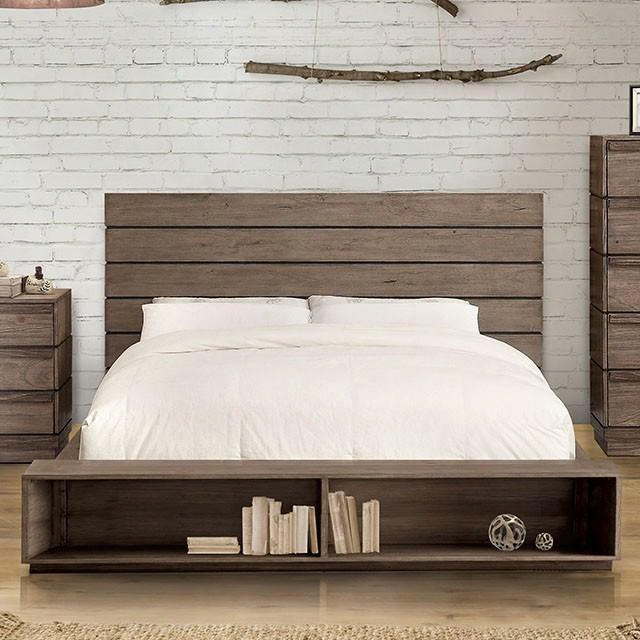 Coimbra Collection Cm7623bc-ek-bed Eastern King Size Bed With Bookcase Footboard Plank Panel Headboard Solid Wood And Wood Veneers Construction In Rustic