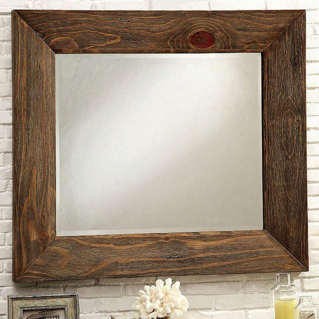 "Coimbra Collection Cm7623m 42"" X 37"" Mirror With Rectangle Shape Solid Wood And Wood Veneers Frame Construction In Rustic Natural Tone"