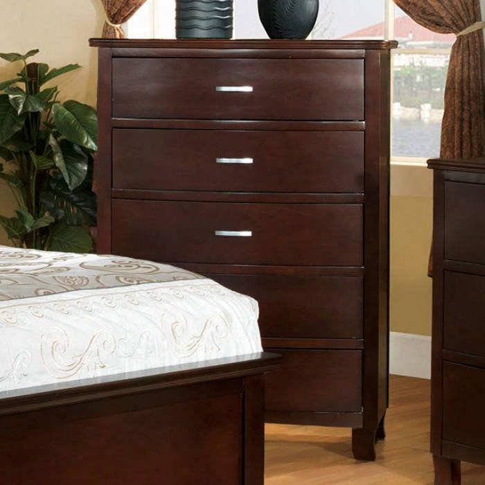 """Crest View Collection Cm7599c 36"""" Chest With 5 Drawers Replicated Wood Grain Silver Metal Hardware And Solid Wood Construction In Brown Cherry"""