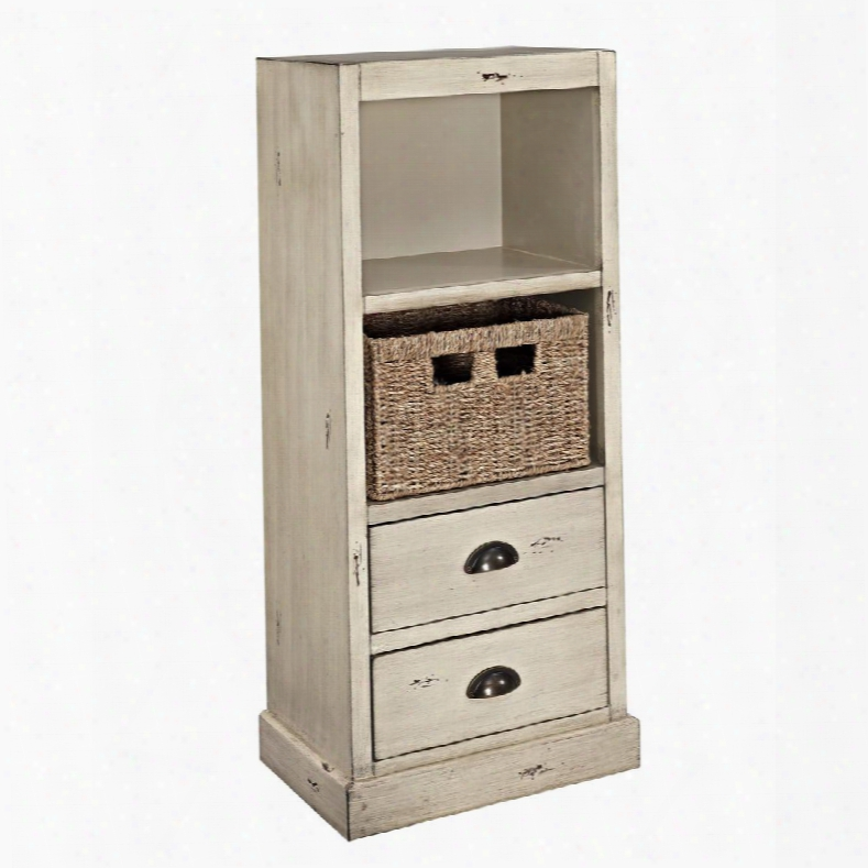 "Currituck Collection 15a2064sm 17"" Chest With Metal Cup Pulls Two Drawers Shelf And Basket In"