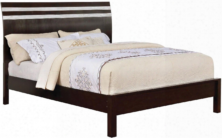 Euclid Collection Cm7205q-bed Queen Size Bed With Wooden Sleigh Headboard Solid Wood And Wood Veneers Construction In Silver And Espresso