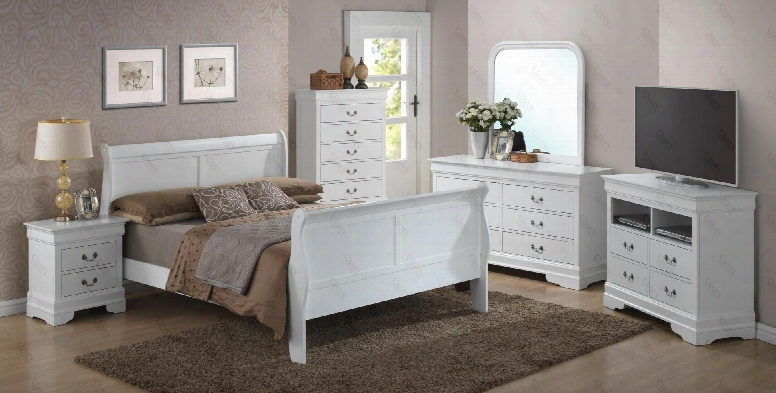 G3190akbset 6 Pc Bedroom Set With King Size Sleigh Bed + Dresser + Mirror + Chest + Nightstand + Media Chest In White