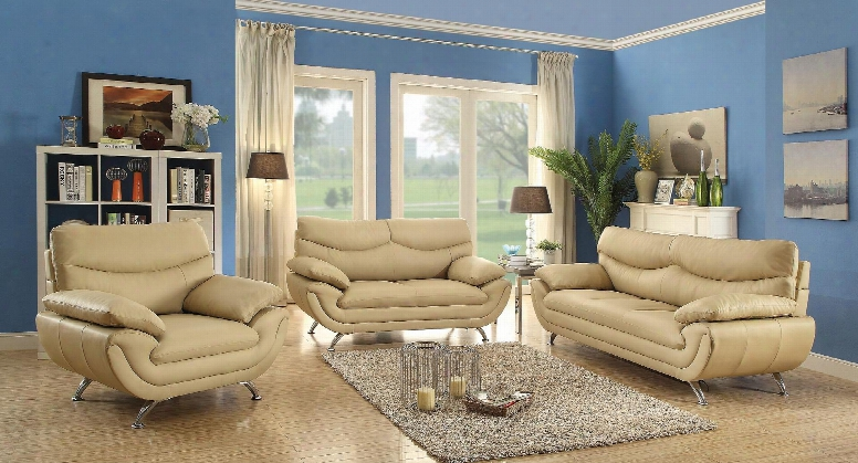 G435set 3 Pc Living Room Set With Sofa + Loveseat + Armchair In Beige