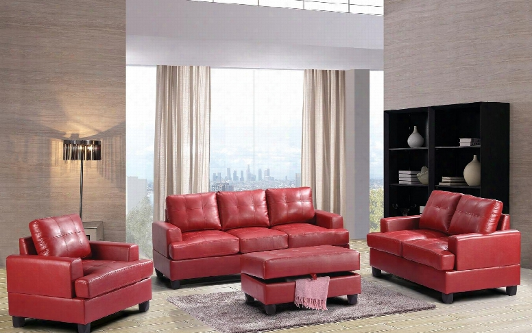 G589aset 3 Pc Living Room Set With Sora + Loveseat + Armchair In Red