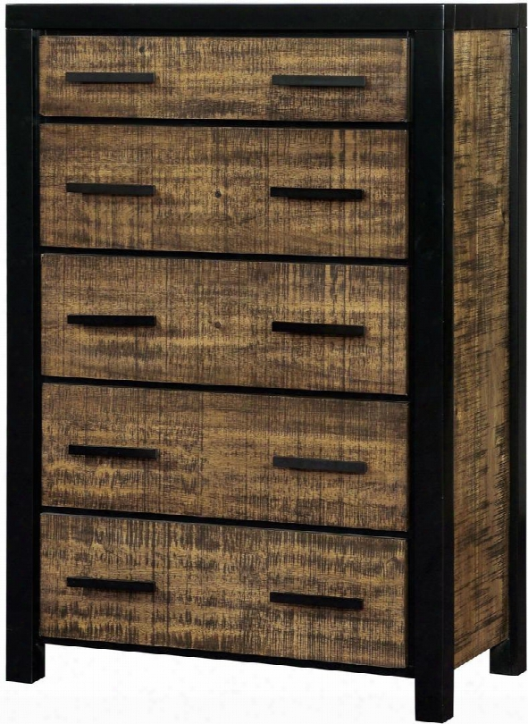 """Hamberg Collection Cm7693c 34"""" Chest With 5 Drawers Felt-lined Top Drawer Two-tone Design Solid Forest And Wood Veneers Construction In Black And Oak"""