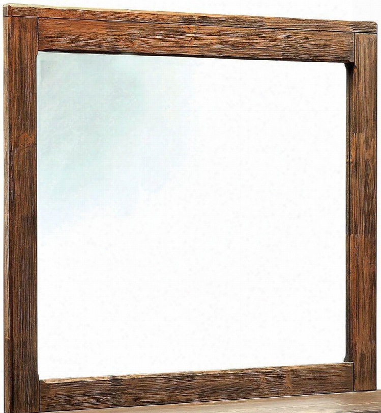 "Hutchinson Collection Cm7576m 42"" X 37"" Mirror With Rectangular Solid Wood And Wood Veneers Frame Construction In Rustic Natural Tone"