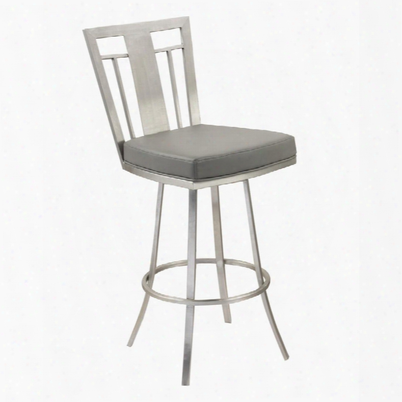 "Lccl30swbagrb201 Cleo 30"" Modern Swivel Barstool In Gray And Stainless"