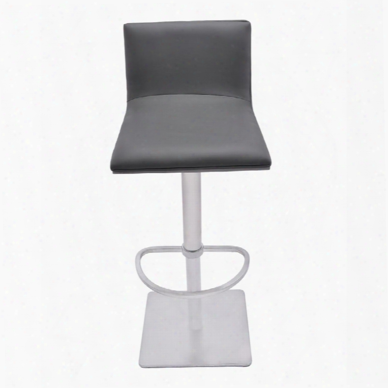 Lccrbagrbs Crystal Adjustable Swivel Barstool In Gray Pu With Brushed Stainless Steel Finish And Gray Walnut Veneer