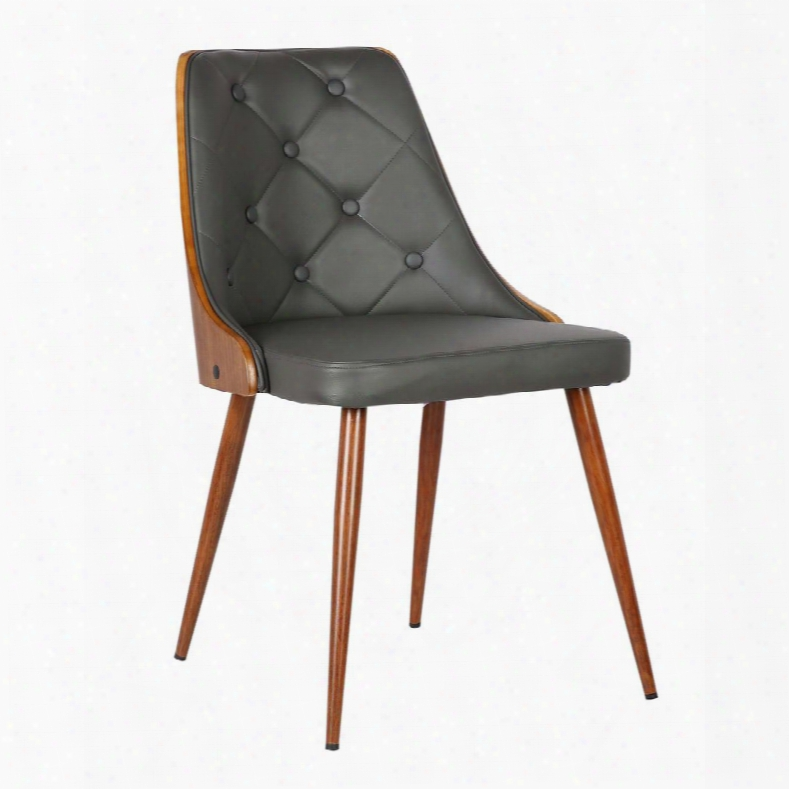 Lcllsiwagray Lily Mid-century Dining Chair In Walnut Finish And Gray