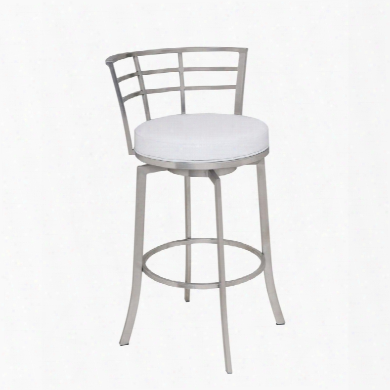 """Lcvi30bawh Viper 30"""" Bar Height Swivel Barstool In Brushed Stainless Steel Finish With White"""