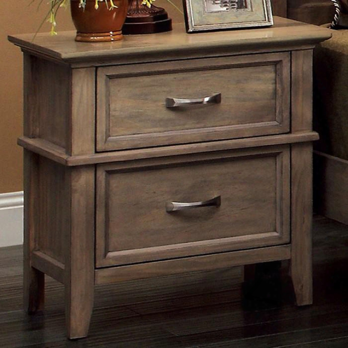 "Loxley Collection Cm7351n 24"" Nightstand With 2 Full Extension Drawers Felt-lined Top Drawer Solid Forest And Wood Ve Neers Construction In Weathered Oak"