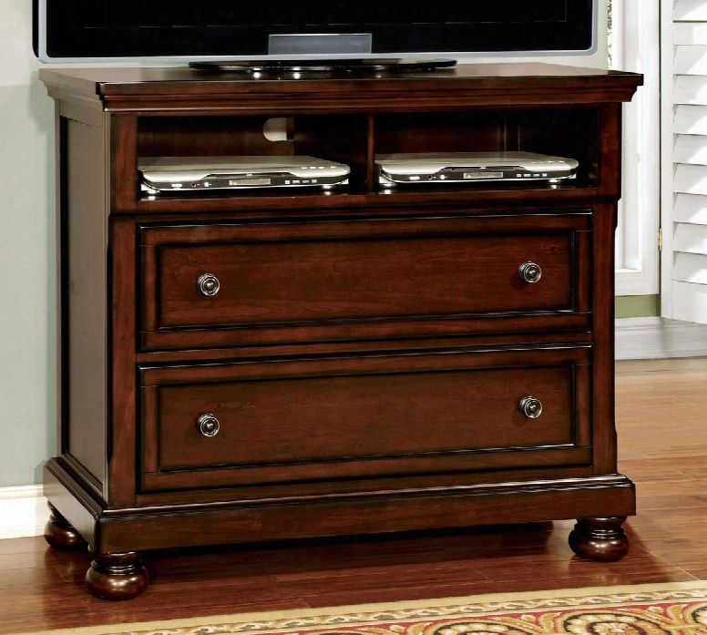 """Northville Collection Cm7682tv 45"""" Media Chest With 2 Drawers Full Extension Metal Glides Open Compartments Solid Wood And Wood Veneers Cnostruction In Dark"""