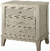 """Adeline Collection CM7282N 25"""" Nightstand with 3 Drawers Mirror Front Panels Crocodile Skin Leatherette Panel Solid Wood and Wood Veneers Construction in"""