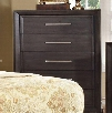 "Bradley Collection CM7780C 34"" Chest with 5 Drawers Felt-Lined Top Drawer Large Chrome Handles Solid Wood and Wood Veneers Construction in Dark Grey"