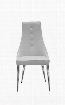 DC1313TAU Palacio Dining Chair Taupe Faux Leather With Crystal Buttons In Backrest Polished Stainless Steel