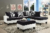 Domino Collection G220SCO 2 PC Living Room Set with Reversible Chaise Sectional + Storage Ottoman in White and Black