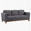 LCBR3DG Brussels Modern Sofa in Dark Gray Linen and Walnut