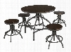 Odium Collection D284-223 5-Piece Bar Table Set with Adjustable Height Table and 4 Adjustable Height Stools in